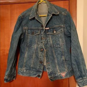 Guess heavy weight denim jacket. Distressed look.